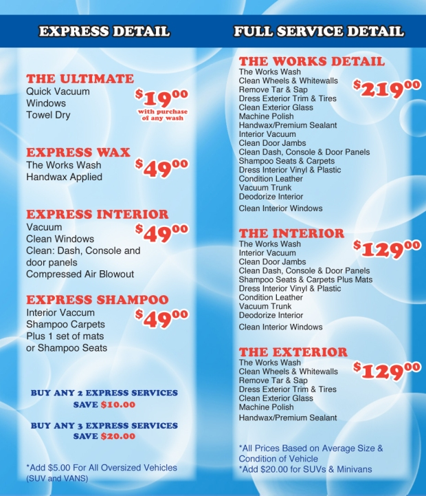 Express Detail and Full Service Detail Price List